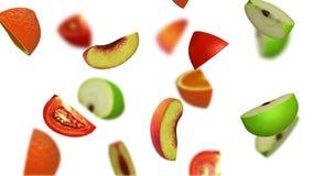 Lobules of fruits falling on white background, 3d illustration Stock Images