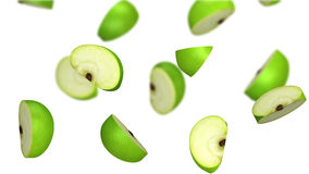 Lobules Of Green Apple Falling On White Background, 3d Illustration Stock Images
