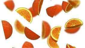 Lobules of orange falling on white background, 3d illustration Stock Image