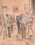 No estúdio da arte ilustração do vetor