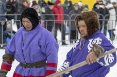 "Local aborigines - Khanty, reindeer sleigh of three deer, winter, ""Seeing off winter"" festival stock images"