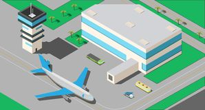 A small airport with a jet passenger plain and control center. A local airport with a jet passenger plain and ladder and maintenance vehicles isometric vector vector illustration