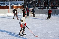 Local amateurs playing hockey. Stock Images