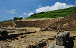 Local Archaeological de Morgantina Fotografia de Stock