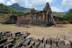 Local Archaeological de Wat Phu perto de Champasak Imagens de Stock