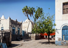 Local architecture street in central massawa old town eritrea Stock Image