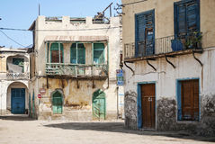 Local architecture street in central massawa old town eritrea Stock Photo