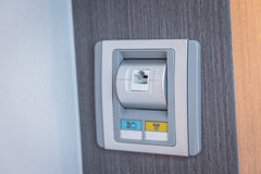 Local Area Network Socket on Wall . Stock Images