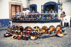 Local aztec souvenirs made of ceramics. Ceramics in Mexico date back thousands of years before the Pre-Columbian period. Today, ceramics are still produced Royalty Free Stock Photo