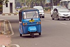 Local bajaj transportation in Jakarta Stock Photo
