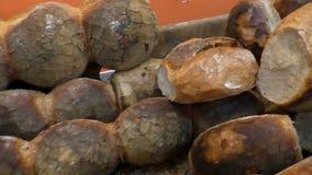 Local bakery crunchy bread hobz in Malta stock video footage