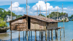Local Bamboo Hut in Kabui Bay near Waigeo. West Papuan, Raja Ampat, Indonesia.  Stock Photography