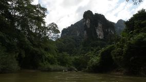 The local bamboo rafting motorboat is heading to Coral cave, the views from popularity of Rajjaprabha Dam Cheow Lan Dam