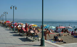 Local beach in the Aegean coast of Turkey Royalty Free Stock Images