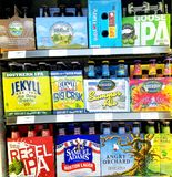 Local Beer Companies with National Special Brews. North Georgia's Local Beer uses bright colors to catch your eye Stock Photos
