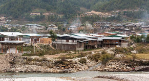 Local Bhutan houses in winter Royalty Free Stock Images