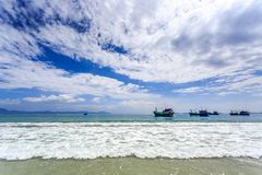 Local Boats At Morning in Doc Let beach, Vietnam Stock Images