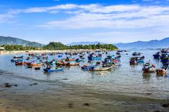 Local Boats At Morning in Vietnam Stock Photos