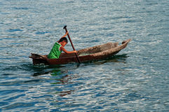 Local boy on the fishing boat , Indonesia. Stock Photo