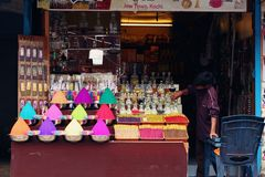 Local boy selling handmade colors perfumes in Kochi Stock Photography