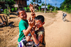 Local boys in a small community near Muang Sing, Laos Royalty Free Stock Images