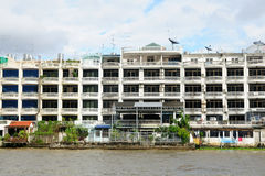 Local building on riverside in Thailand. Stock Photography