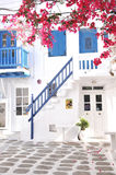 Local buildings are in the small alley of Mykonos city, Greece Royalty Free Stock Photography