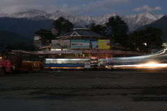Local Bus Stop at pretty Hill Station in Himachal, palampur. Editorial: Palampur, Himachal Pradesh, India: Nov 10th, 2015: Local Bus Stop at pretty Hill Station Stock Photo