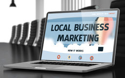 Local Business Marketing Concept on Laptop Screen. 3D. Local Business Marketing. Closeup Landing Page on Mobile Computer Display. Modern Conference Hall Stock Photo