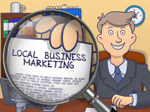 Local Business Marketing through Magnifier. Doodle Style. Stock Images