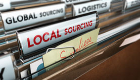 Local Business Versus Global Sourcing Stock Photo