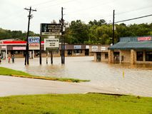 Local Businesses Underwater During Hurricane Harvey Flooding. In Livingston, Texas Royalty Free Stock Images