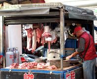 Local Butcher at Market in Taiwan Stock Photography