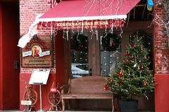Local cafe red christmas decor antique Stock Image