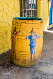 Local Caribbean design on the public trash receptacles Stock Photography