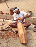 A local carpenter making wooden boat, India Stock Images