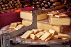 Local cheese selling at a farmers outdoor market Royalty Free Stock Photo