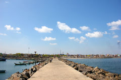 Local chennai harbour. Chennai harbour with blue sky royalty free stock images