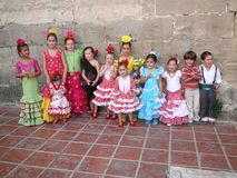 Local children dressed in traditional costumes Royalty Free Stock Photography