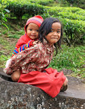 LOCAL CHILDREN AT SITU PATENGGANG IN INDONESIA Royalty Free Stock Photography