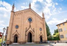 Local church facade in Castelvetro, Modena stock images