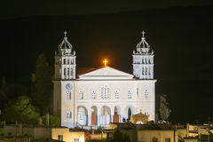 Local church of Leukes village at Paros island in Greece. Stock Image
