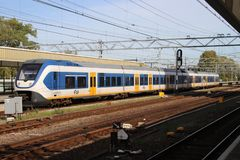 Local commuter SLT train on the railway station of Leiden in the Netherland. S stock photo