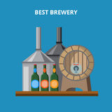 Local country farm beer ale brewery flat vector Royalty Free Stock Photography