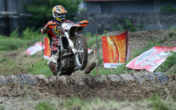 Local crosser crosser competed in enduro motorcycle event in Gor. O assalam Solo in Central Java Indonesia . Enduro Cross Championship 2012. Circuit Goro Assalam stock photo