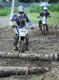 Local crosser crosser competed in enduro motorcycle event in Gor Stock Images