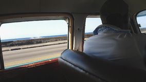 Local cuban taxi in Malecon stock footage