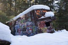Local da destruição do trem do assobiador com o carro pintado grafittis fotografia de stock