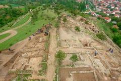 Local da escavação da arqueologia em Macedônia Fotos de Stock Royalty Free