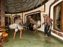 Local dance exhibitors in Tanzania, an authentic setting. Where life is wonderful Royalty Free Stock Photo